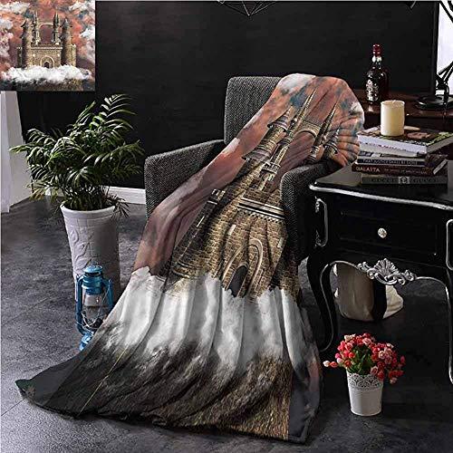 Searster$ Fleece Blanket Mittelalterliche Sherpa Decke Märchenschloss Auf Hügel Wohnzimmer Couch Bett Camping Picknick,102X127 cm (50X40 In)