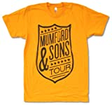 Adult Mumford & Sons'Shield Tour Aug-Sept on Yellow' T-Shirt (Large)