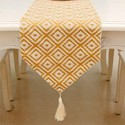 AMON LL Fashion jacquard tafelloper, vintage nylon loper tafelkleed met kwastjes snijwerk geborduurd tafelloper voor bruiloftsdecoratie