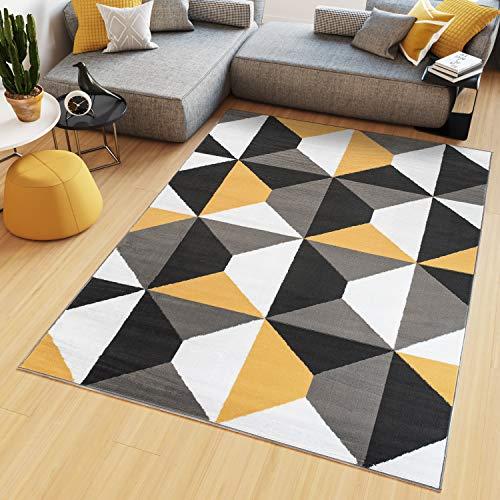 Tapiso Maya Teppich Kurzflor Grau Weiß Gelb Modern Geometrisch Vierecke Figuren Design Wohnzimmer Schlafzimmer Büro ÖKOTEX 160 x 230 cm