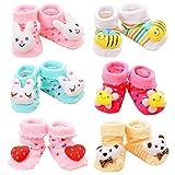 Z-Chen 6er Pack Rutschfeste Socken für Babys 3D Tier Motive, Set B, 0-9 Monate
