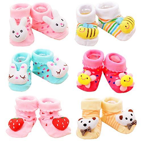 Z-Chen Pack de 6 Pares Calcetines Antideslizantes para Bebé, Set B, 0-9 Meses