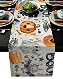 ARTSHOWING Halloween Table Runners Pumpkin Ghost Trick or Treat Table Runner Event Party Supplies Fabric Decorations for Wedding Birthday Baby Shower 13 by 70 Inch