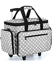 حقيبة آلة خياطة ليكسا مع دمية عربة قابلة للفصل، حقيبة خياطة دوارة مع وسادة سفلية قابلة للإزالة (تناسب معظم آلات الخياطة القياسية)، نقاط رمادية (تصميم حاصل على براءة اختراع)