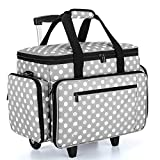 Luxja Sewing Machine Case with Detachable Trolley Dolly, Rolling Sewing Machine Tote with Removable Bottom Pad (Fits for Most Standard Sewing Machines), Gray Dots (Patented Design)