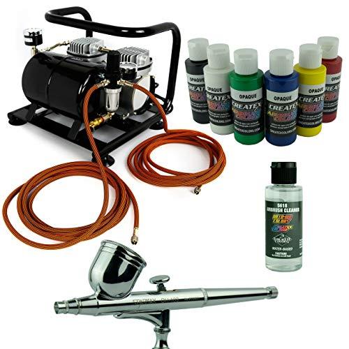 Complete airbrush set Sparmax airbrushpistool compressor Saturn Createx kleuren