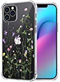 Flocute Clear Floral Case Compatible with iPhone 12 Clear Floral Case Flower Pattern Slim Lightweight Soft TPU Cute Case with Extra Corner Phone Case Replacement for iPhone 12/12 Pro (Green)