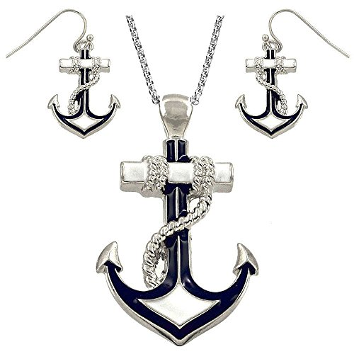DianaL Boutique Silvertone Nautical Anchor Pendant Necklace and Earring Set 24' Chain