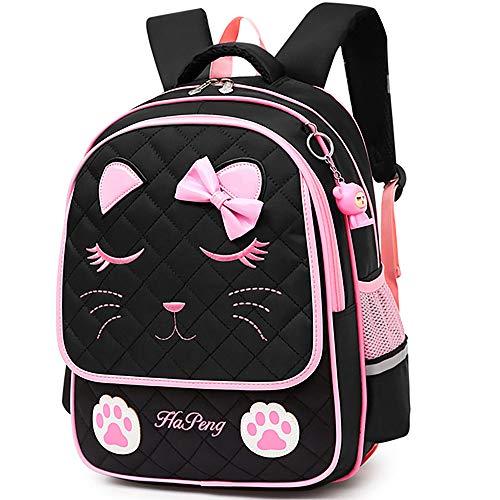 Junlion Girl's Backpack Bow-knot School Bag Cat Face Backpacks for Girls Preschool Black