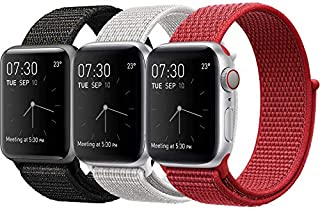 MAZTRON 3-Pack Nylon Band Compatible with Apple Watch 42mm 44mm size, Soft Light-weight Breathable Sport Loop Replacement ...