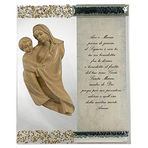 Holyart Cuadro Figura Virgen Plata Cristal oración Topacio