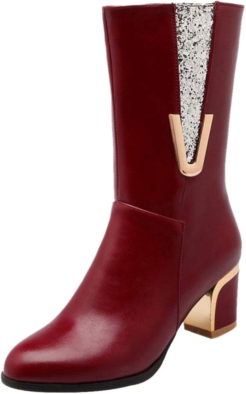 ELEEMEE Women Fashion Zip Mid Heel Half Boots