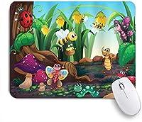 VAMIX マウスパッド 個性的 おしゃれ 柔軟 かわいい ゴム製裏面 ゲーミングマウスパッド PC ノートパソコン オフィス用 デスクマット 滑り止め 耐久性が良い おもしろいパターン (エキゾチックな庭の植物学のかわいい漫画の芸術で動物のてんとう虫蝶蜂)
