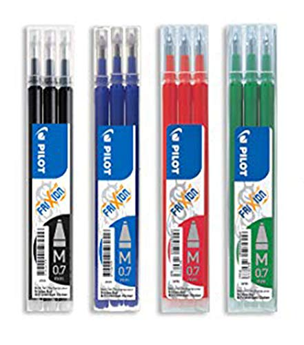 Pilot - Lot de 4 sets de 3 Recharges FriXion Ball - Noir, Bleu, Rouge, Vert - Pointe Moyenne