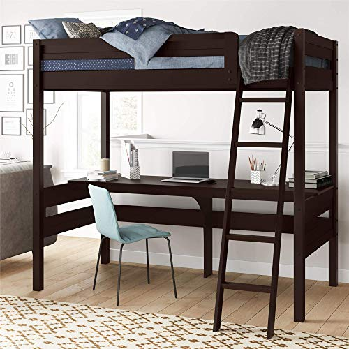 Dorel Living Harlan Wood Loft Bed with Ladder and Guard Rail - Twin (Espresso)