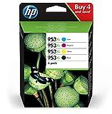 HP3HZ52AE 953XL Cartucho de Tinta Original de alto rendimiento, 4 unidades, negro, cian, magenta y amarillo