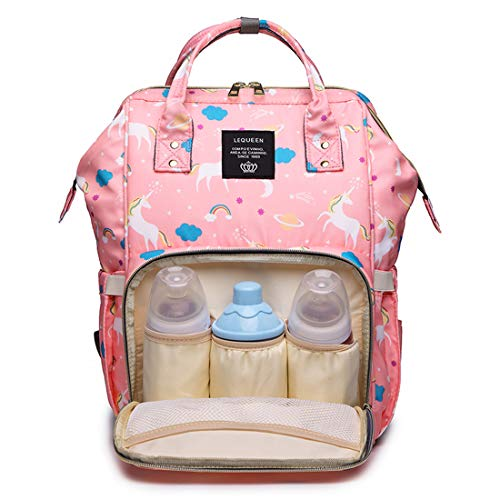 LEQUEEN Diaper Bag Multi-Function Baby Diaper Backpack Nappy Bags, Mom Dad Travel Backpack Large Capacity Baby Bags with Unicorn Printing (Pink)