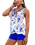 trajes de baño para Mujer 2021 Swimsuits for Women 2 Piece Floral Tankini Bathing Tops with Blue Shorts Tummy Control Bathing Suits White XXL