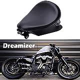 DREAMIZER Negro Asiento Moto Bobber, Asiento Monoplaza Bobber de Motocicleta, Con soporte de resorte Placa base para Sportster XL883 1200 48 Chopper Custom