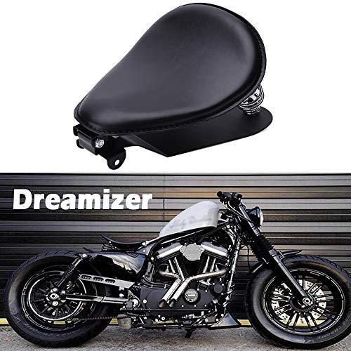 DREAMIZER Schwarzer Motorrad Bobber Sitz, Motorrad Solo Sitz Mit Grundplatte der Federhalterung für Sportster XL883 1200 48 Chopper Custom