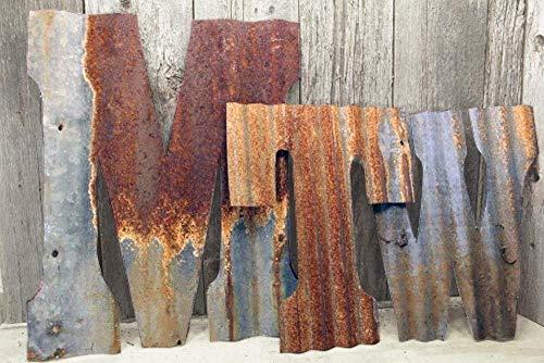 Rusty Tin Letters Rustic Metal Wall Decor 8' - 36' Galvanized Farmhouse Wedding Decorations