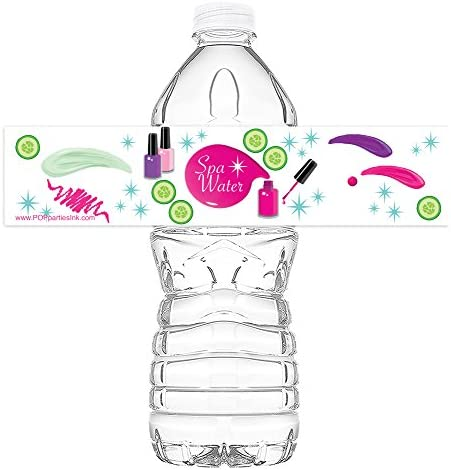 POP parties Spa Party Bottle Wraps Set of 20 Spa Party Water Bottle Labels Spa Party Decorations product image