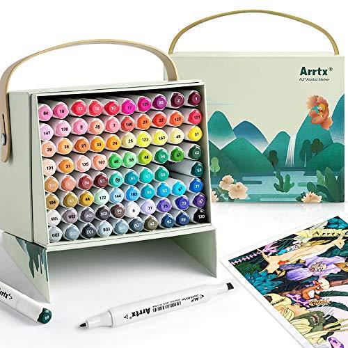 Arrtx Marker Stift mit 80 Farben, ALP Doppeltipps Graffiti Marker pen mit Tragebox für Entwürfe, Zeichnen, Skizzieren, Architektur, Anime, Kalligraphieren und Illustration