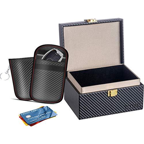 ZCOINS Faraday Box et 2 Pochettes Double Couche Ensemble de Valeur clé de Voiture boîte de Blocage de Signal entrée sans clé...