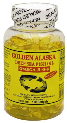 Golden Alaska Deep Sea Omega-3-6-9 Fish Oil 1000mg 100 Softgels