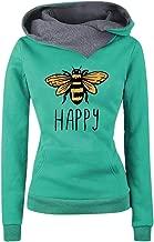 Aniywn Winter Ladies Pullover Tops Women Lapel Long Sleeves Printed Hoodies Sweatshirt with Pocket