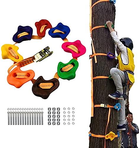 WXking 10 Ninja-Baum-Kletterhalterungen für Kinder und Erwachsene, Klettergriff-Sets für Ninja-Krieger, Hinderniskurs mit 2,5 m Lastkappe, Ratschen-Spanngurte