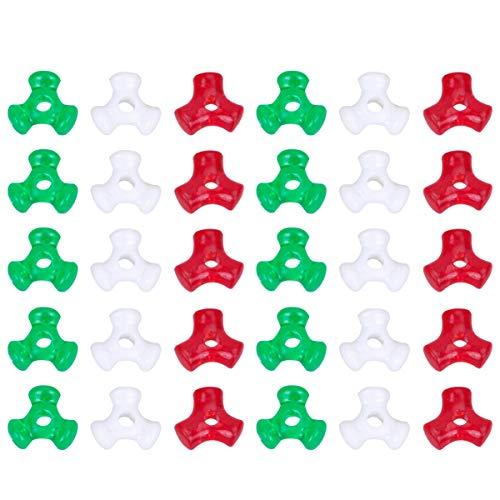 SUPVOX 1 conjunto de contas triplas de Natal contas triplas de plástico vermelho verde branco contas triplas para festa de Natal faça você mesmo suprimentos