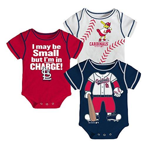 MLB St. Louis Cardinals Boys Infant My Team Onesie 3-Piece Set, White, Newborn 0-3 Months
