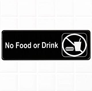 No Food or Drink Sign for Door/Wall - Black and White, 9 x 3-inches No Food or Drink Sign for Business by Tezzorio