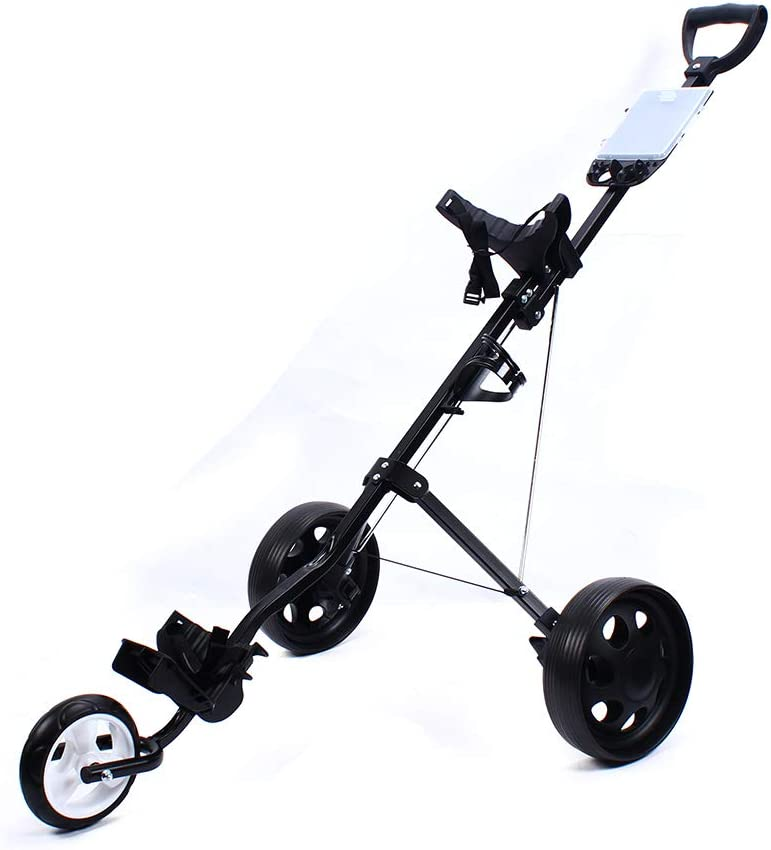 LOYALHEARTDY Durable 3 Wheels Foldable Collapsible Golf Trolley,