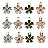 iloveDIYbeads 48pcs Gold Plated Enamel Cherry Blossoms Flower Charm Pendant for DIY Jewelry Making Necklace Bracelet Earring DIY Jewelry Accessories Charms (M162)