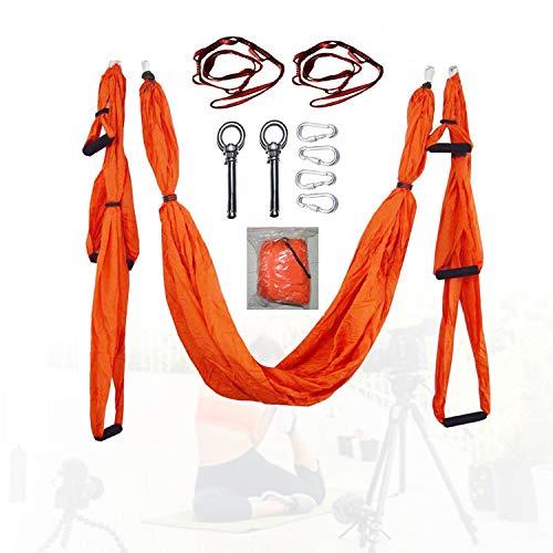 HIMABeauty Hamaca de Yoga aérea Profesional, Probada y certificada para la Seguridad, Antideslizante Silk Yoga Swing para Ejercicios De Inversión De Yoga Antigravedad,Naranja