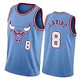 GDHA Chicago Bulls Zach LaVine 8 # Camiseta de baloncesto para hombre, camiseta retro sin mangas deportiva de malla, ropa de estilo hip hop azul-l