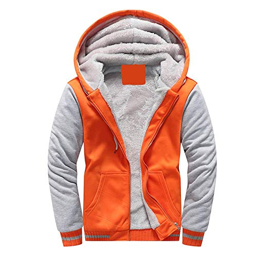 VSUSN Herren Kapuzenpullover mit Reißverschluss Langarm Kapuzenjacke Winter Warm Fleece-Innenseite Sweatshirt Plus Dicke Fleecejacke Sweatjacke Mit Kapuze(Orange, 4XL)
