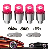 Yinch New Led Bike Wheel Lights 4 Pack Car Tire Valve Cap Bicycle Motorcycle Tyre Spoke Flash Lights Waterproof Valve Stems Caps Accessories for Men Women Kids with 10 Extra Batteries (Red)