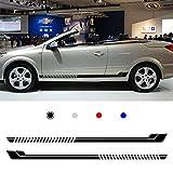 Cobear Adesivi Laterali Strisce Sport Stripes Adesivo Laterale per O PEL Individualità Adesivi Auto Decorazioni Accessori Nero 2 Pezzi