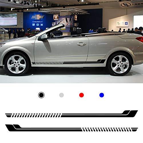 Cobear Auto Seitenstreifen Seitenaufkleber Aufkleber für O PEL Rennstreifen Racing Decals Viperstreifen Schwarz 2 Stück