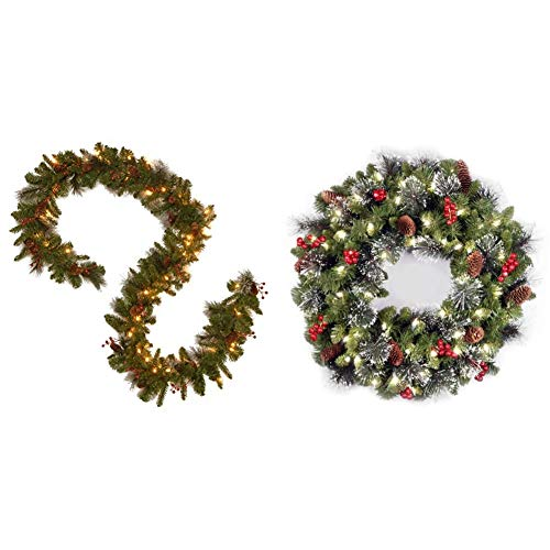 National Tree Company Pre-lit Artificial Christmas Garland - 9ft & lit Artificial Christmas Wreath Flocked with Mixed Decorations and Pre-Strung White LED Lights, Crestwood Spruce-24 inch