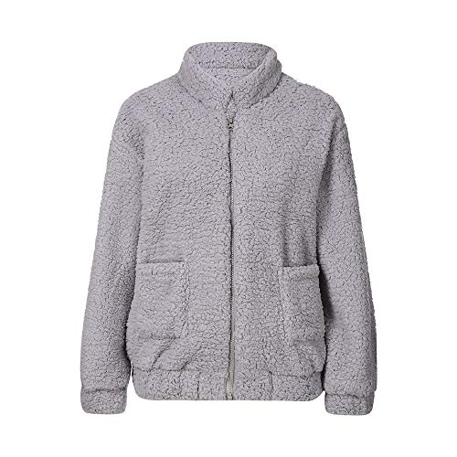 Supertong Damen Mantel Teddyjacke Winter Verdicken Warm Plüschjacke Steppjacke Mode Stehkragen Teddy-Fleece Parker Jacke Frauen Wintermantel Kurzer Fleecejacke Casual Übergangsjacke