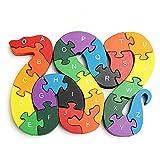 Crazy-M Holz Puzzle Puzzlespiel Pädagigisches Spielzeug für Kinder Schlange Zahlenpuzzle...