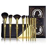 Set di pennelli per trucco Jessup 10 pezzi con borsa per il trucco, pennelli per contorno in polvere Concealer Bronzer Eyeshadow Eyeliner T317