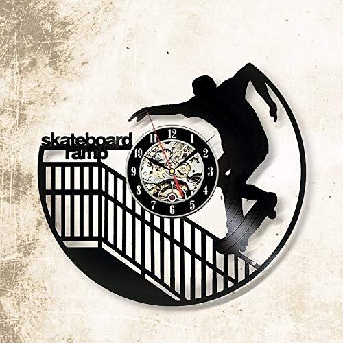 CHENWN Skateboard Ramp Vinyl Record Wandklok, Uniek Ontwerp Cadeau voor Vrienden, Huis en Kamer Decoratie Handgemaakte Kunst