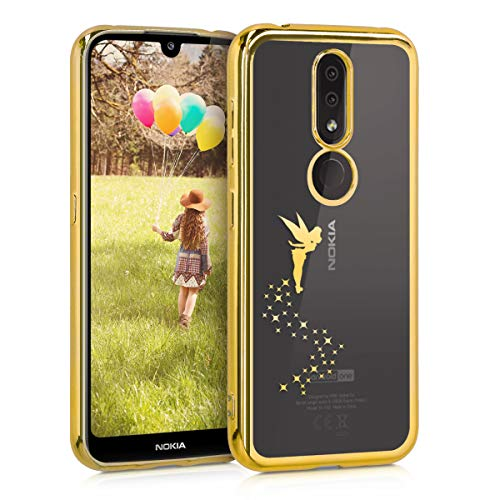 kwmobile Hülle kompatibel mit Nokia 4.2 (2019) - Hülle Handy - Handyhülle Fee Gold Transparent