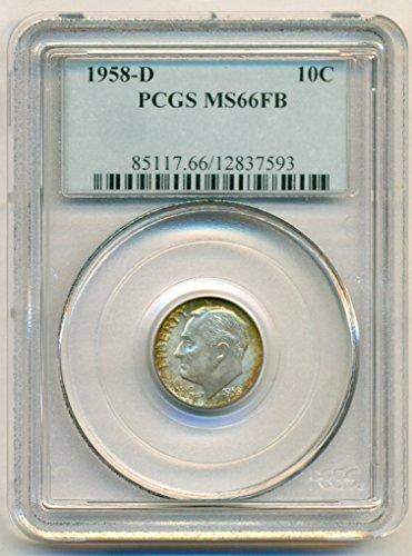 1958 D Roosevelt Silver Dime MS66 FB PCGS