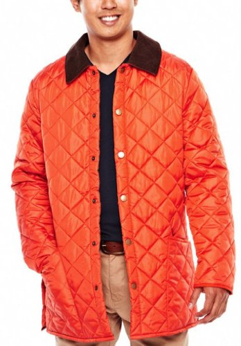 JCP Mens Quilted Lightweight Jacket Size X-Large XL Orange – Travel Hiking Working